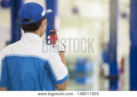 Man Talking on Radio.Selective focus at radio