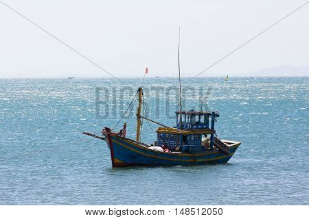 Nautical Fishing Coracles On Sea, Tribal Boats At Fishing Village In Vietnam