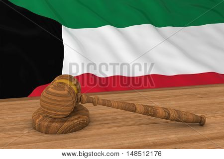Kuwaiti Law Concept - Flag Of Kuwait Behind Judge's Gavel 3D Illustration