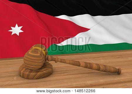 Jordanian Law Concept - Flag Of Jordan Behind Judge's Gavel 3D Illustration