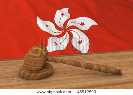 Hong Kongese Law Concept - Flag Of Hong Kong Behind Judge's Gavel 3D Illustration