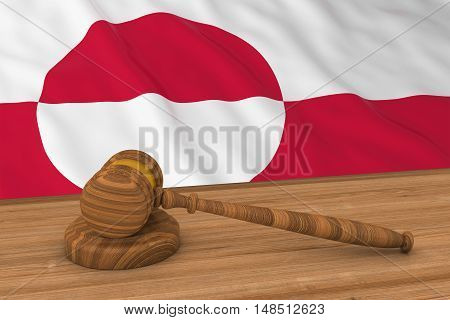 Greenlandic Law Concept - Flag Of Greenland Behind Judge's Gavel 3D Illustration