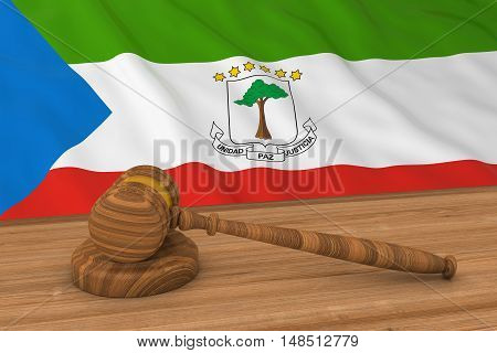 Equatorial Guinean Law Concept - Flag Of Equatorial Guinea Behind Judge's Gavel 3D Illustration