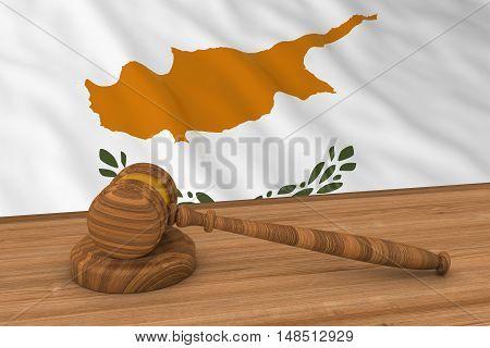 Cypriot Law Concept - Flag Of Cyprus Behind Judge's Gavel 3D Illustration