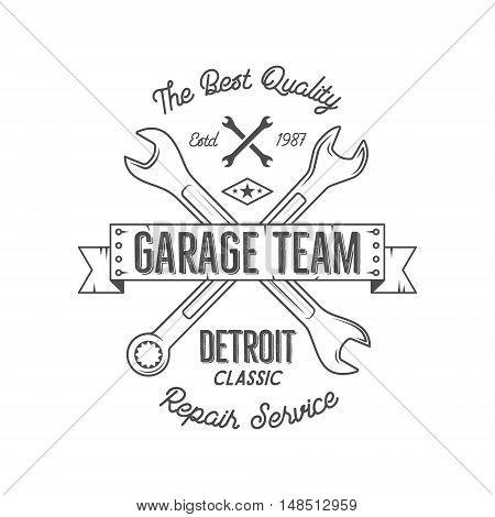 Garage service vintage tee design graphics, Detroit classic, repair service typography print. Black T-shirt stamp, teeshirt graphic, premium retro artwork. Best for emblem, logo. Vector.