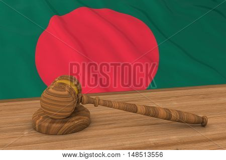 Bangladeshi Law Concept - Flag Of Bangladesh Behind Judge's Gavel 3D Illustration