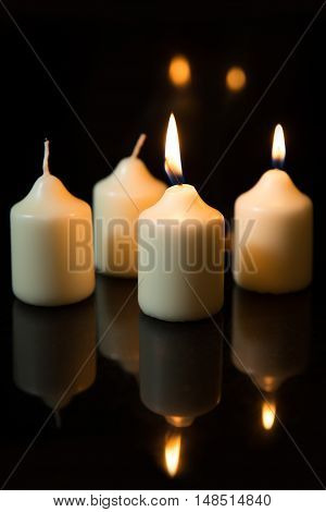 Second Sunday In Advent, Candles With Black Background