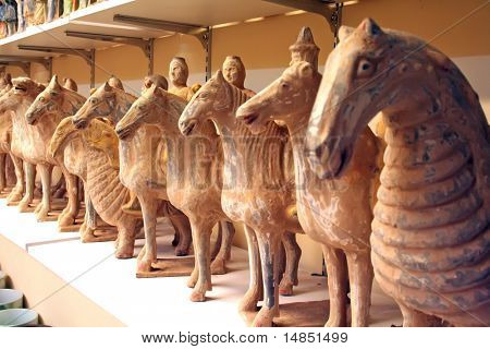 Antique chinese terra cotta artifact clay figurines
