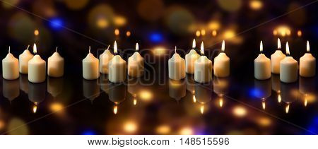 Panorama, Advent Season With A Lot Of Candles, Sparkling Reflections