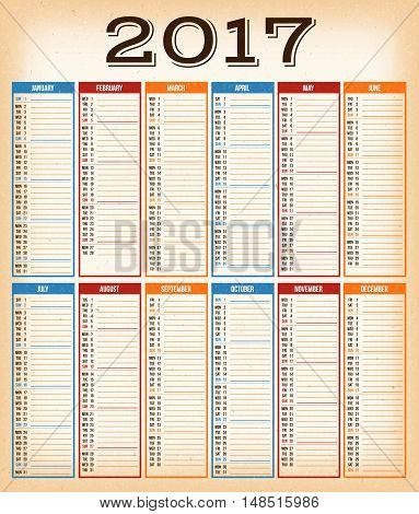 Illustration of a vintage design calendar for year 2017 with monthes weeks quarters and grunge textured background
