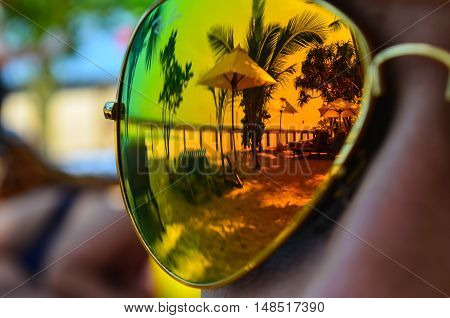 Reflection of landscape in glasses like in the mirror