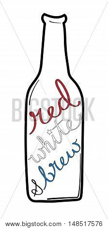Isolated Red White and Brew Beer Bottle