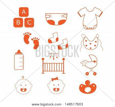 Baby Items Orange Cute Clothes Crib Icons