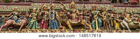Detail of a Hindu temple Shikara, in Singapore