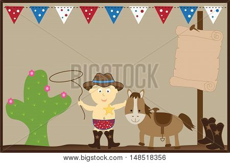 Cowboy Baby Boy with Horse and Boots