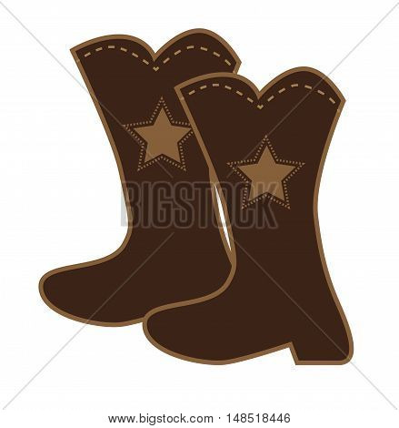 Brown Star Sheriff Cowboy Footwear Clipart Boots