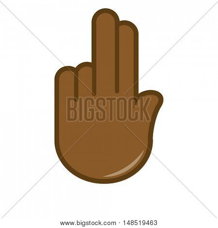 Vector hand gesture icon. Sign language. Signal of hand, fingers for communication. Isolated color illustration on white