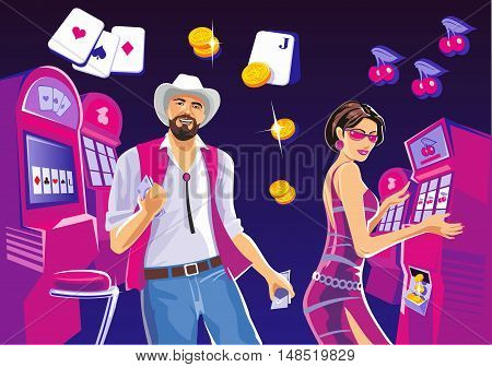 Interior casino with people. Design concept for gambling luck ans successful play