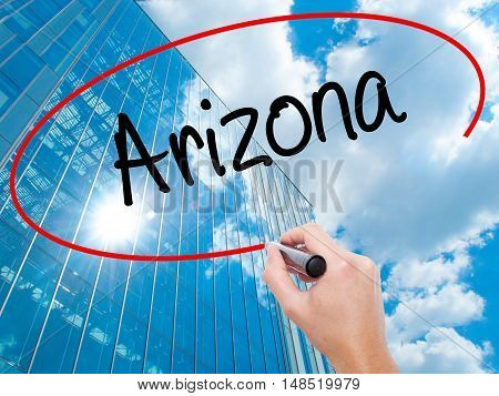 Man Hand Writing  Arizona  With Black Marker On Visual Screen
