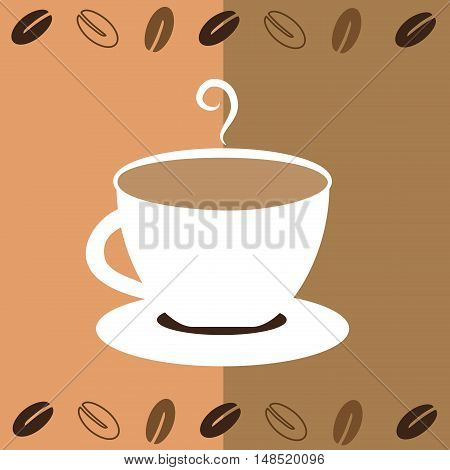White Coffee Mug with Beans and Steam