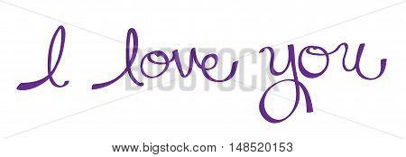 I Love You in Purple Cursive Lettering
