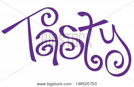 Tasty Cursive Calligraphy Lettering in Purple Writing