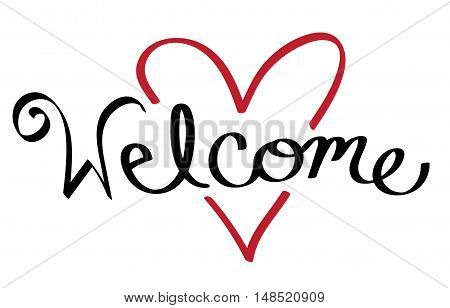 Welcome Red Love Heart Cursive Calligraphy Lettering