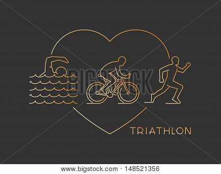 Vector gold line logo triathlon. Figures triathletes on a black background. Swimming cycling and running symbol. Open path.