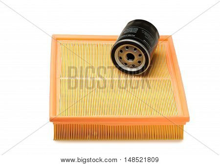Air and oil filter. Isolate on white