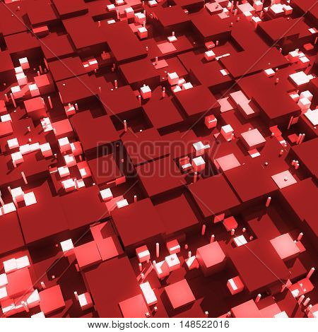 3D Rendered Cubes With Different Size. 3D Cubes With Shadows, Reflection And Bright Elements.