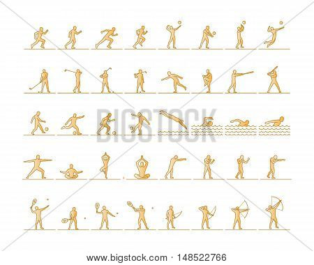 Vector set of sports figures athletes. Silhouettes of sportsmen. The runners golfers swimmers yogis boxing and archery.