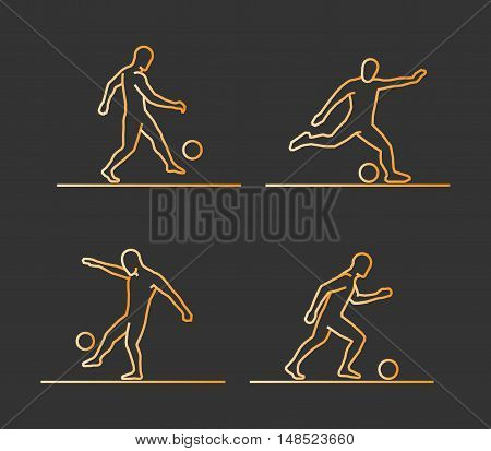 Gold silhouettes of soccer. Vector set of linear soccer players figures.