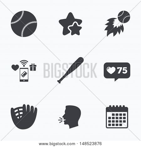 Baseball sport icons. Ball with glove and bat signs. Fireball symbol. Flat talking head, calendar icons. Stars, like counter icons. Vector