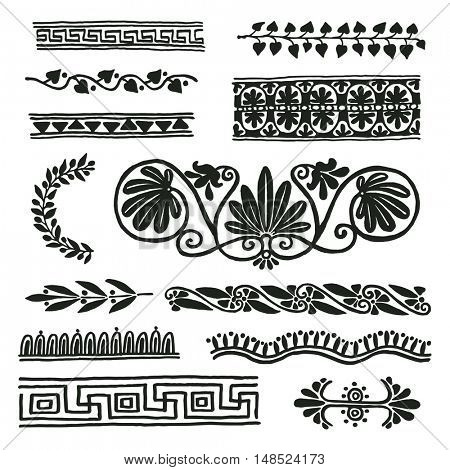 Ancient Rome border ornaments, decor elements. Freehand drawing.