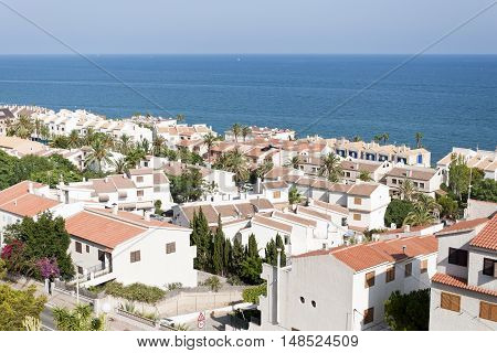 Views of Santa Pola town. It is a coastal town located in the comarca of Baix Vinalopo in the Valencian Community Alicante Spain by de Mediterranean Sea.