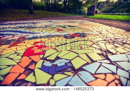 Floor mosaic background in Barnsley-UK park, art