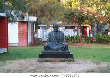 Mahatma Gandhi Monument In Sabarmati Ashram In Ahmedabad, India