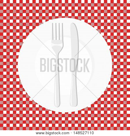 Empty plate with knife and fork. Dish fork and knife on a red tablecloth in a cage
