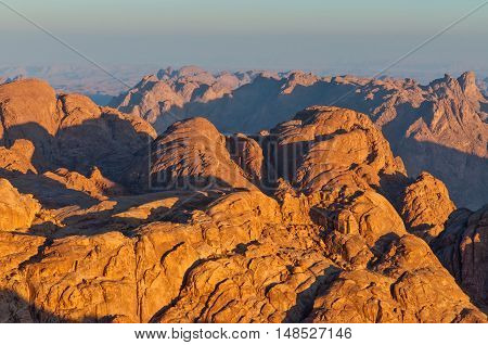 View from Mount Sinai at dawn Egypt