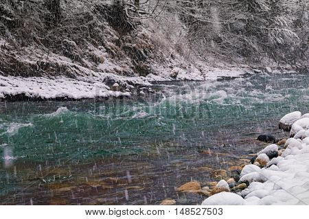 Ice Free River In Winter