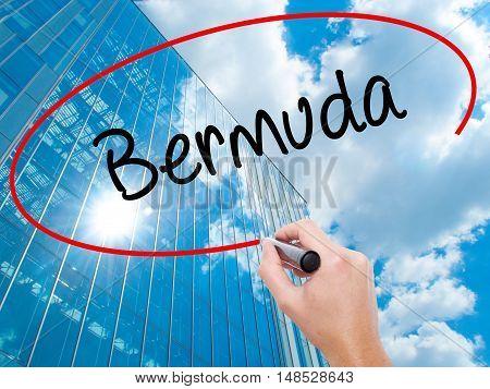Man Hand Writing Bermuda With Black Marker On Visual Screen