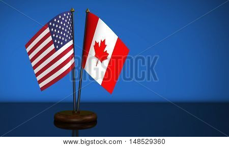 USA flag and Canadian desk flags 3D illustration.