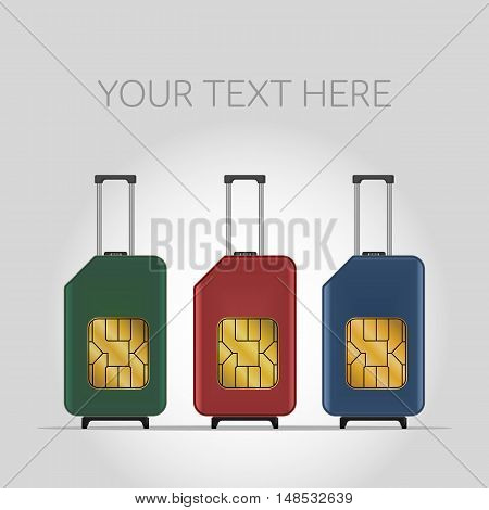 Travel SIM vector illustration. Mobile roaming. Luggage. poster