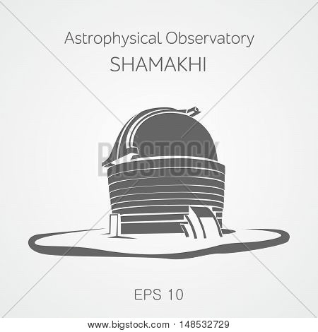 Astrophysical observatory located in Shamakhi. Azerbaijan. Vector illustration