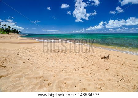 Sunset Beach is on the North Shore of Oahu in Hawaii and known for big wave surfing during the winter season with the nearby Banzai Pipeline and Waimea Bay. In summer, the sea is calm and flat. poster