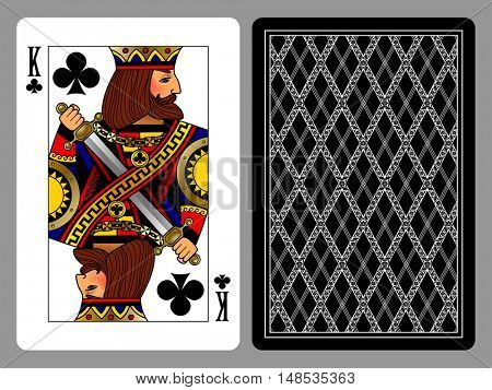 King of Clubs playing card and the backside background. Colorful original design
