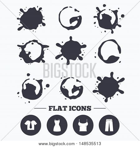 Paint, coffee or milk splash blots. Clothes icons. T-shirt with business tie and pants signs. Women dress symbol. Smudges splashes drops. Vector
