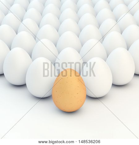 Chicken brown egg and multiple white eggs , Easter , 3d illustration