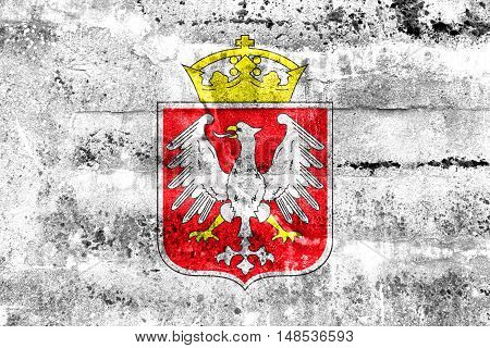 Flag Of Gniezno, Poland, Painted On Dirty Wall