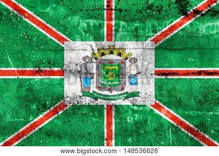 Flag Of Goiania, Goias State, Brazil, Painted On Dirty Wall